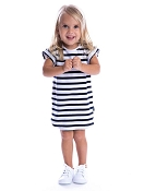 Beau Hudson Navy & White Tee Dress - Kids