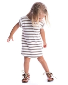 Beau Hudson Taupe & White Tee Dress - Kids