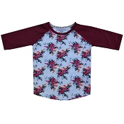 L&P Baseball Style Jersey - Camellia Flower