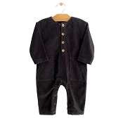 City Mouse Corduroy Pocket Romper - Iron *CLEARANCE*