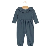 City Mouse Flutter V Back Romper - Storm Cloud