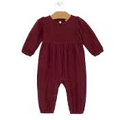 City Mouse Muslin Lace Back Romper - Raisin