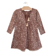 City Mouse Lace Hem Dress - Ditsy Deer