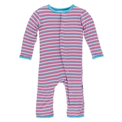 KicKee Pants Fitted Coverall - Flamingo Anniversary Stripe