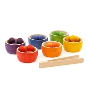 *Grapat Wood Coloured Bowls and Marbles With Tongs