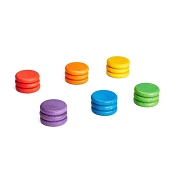 *Grapat Wood Coloured Coins (18 Pieces - 6 Colours)