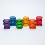 *Grapat Wood Coloured Coins (36 Pieces - 6 Colours)