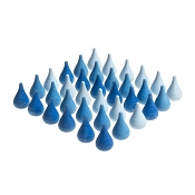 *Grapat Wood Mandala Raindrops - Blues (36 Pieces)