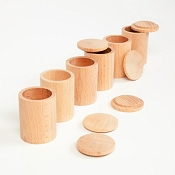 *Grapat Wood Natural Cups with Lids (Set of 6)