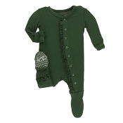 KicKee Pants Solid Classic Ruffle Footie - Topiary (Size 0-3 Months) *CLEARANCE*