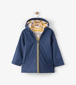 Hatley Navy with Yellow Stripe Lining Splash Jacket (Size 5)