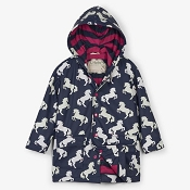 Hatley Colour Changing Playful Horses Classic Girls Raincoat