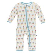 KicKee Pants Fitted Coverall - Natural Ice Cream  (ZIPPER)