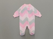 Itty Bitty Baby Fleece Sleeper Chevron - Pink & Grey *CLEARANCE*