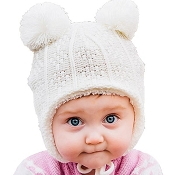 Jan & Jul Knit Hat with Ear Flaps - Cream Bear