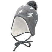 Jan & Jul Knit Hat with Ear Flaps - Grey Lightning Bolt