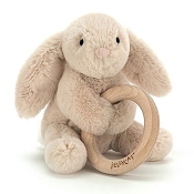 *Jellycat Shooshu Bunny Wooden Ring Toy - 6