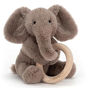 *Jellycat Smudge Elephant Wooden Ring Toy