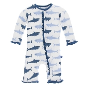 KicKee Pants Fitted Ruffle Coverall - Natural Megalodon