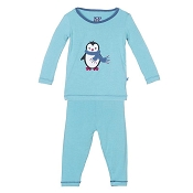 KicKee Pants Holiday Long Sleeve Applique Pajama Set - Glacier Penguin - Size 3-6 Months