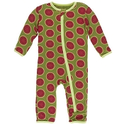 KicKee Pants Fitted Coverall - Grasshopper with Watermelon (Zipper)