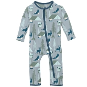 KicKee Pants Fitted Coverall - Pearl Blue Wilderness Guide