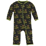 KicKee Pants Fitted Coverall - Zebra Venus Flytrap (Zipper)