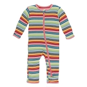 KicKee Pants Fitted Coverall - Cancun Strawberry Stripe (ZIPPER)
