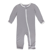 KicKee Pants Fitted Coverall - Feather with Natural (ZIPPER) - Size Newborn *CLEARANCE*