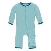 KicKee Pants Fitted Coverall - Glacier with Oasis  (ZIPPER)