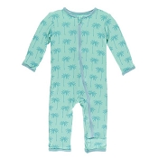 KicKee Pants Fitted Coverall - Glass Palm Trees (SNAPS)