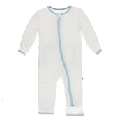 KicKee Pants Fitted Coverall - Natural with Spring Sky (Zipper)