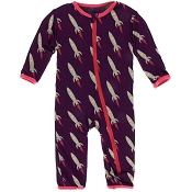 KicKee Pants Fitted Coverall - Wine Grape Rockets (ZIPPER)