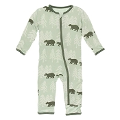 KicKee Pants Fitted Coverall - Aloe Bears and Treeline