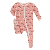 KicKee Pants Footie - Blush Rainbow (ZIPPER)