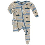 KicKee Pants Footie - Burlap Sharks (Snaps) *CLEARANCE*