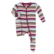 KicKee Pants Footie - Geology Stripe (ZIPPER) - 9-12 months *CLEARANCE*