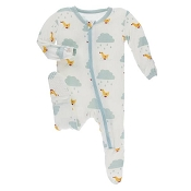 KicKee Pants Footie - Natural Puddle Duck (ZIPPER)