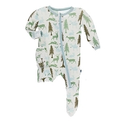 KicKee Pants Footie - Natural Woodland Holiday (ZIPPER)