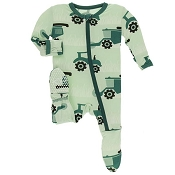 KicKee Pants Footie - Pistachio Tractors and Wheat (Zipper)