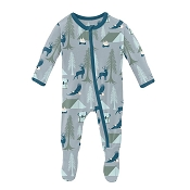 *KicKee Pants Print Footie - Pearl Blue Wilderness Guide