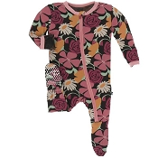 KicKee Pants Footie - Zebra Market Flowers (Zipper)