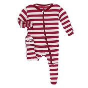 KicKee Pants Footie - Candy Cane Stripe (ZIPPER)