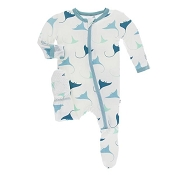 KicKee Pants Footie - Natural Manta Ray (ZIPPER)