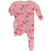 KicKee Pants Footie - Strawberry Domestic Animals (Zipper)