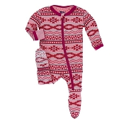 KicKee Pants Footie - Strawberry Mayan Pattern (ZIPPER)