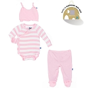 Kickee Pants Essentials Ruffle Kimono Newborn Gift Set w/ Box - Lotus Stripe