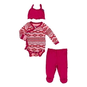 Kickee Pants Essentials Ruffle Kimono Newborn Gift Set w/ Hanger - Strawberry Mayan