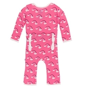 KicKee Pants Fitted Coverall - Flamingo Rainbow (ZIPPER)
