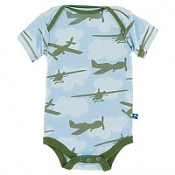KicKee Pants Print Short Sleeve One-Piece - Pond Airplanes (Newborn Size) *CLEARANCE*
